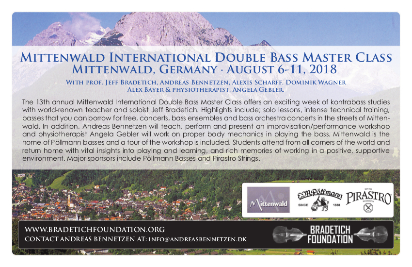 Flyer for the Double Bass Camp 2018 is ready